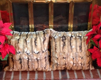 Tissavel Wildcat Faux Fur Pillows/Finest Faux Fur in the World!/ Machine Wash-Dry /Perfect Gift for Anyone/Gift-Ready Box/Ready to Ship!