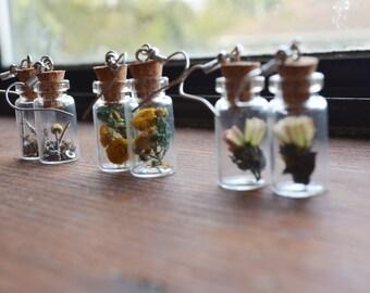 Miniature Vial Earrings with Dried Flowers