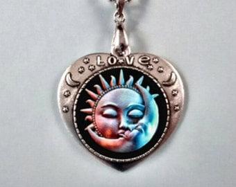 Sun and Moon Pendant, Sun and Moon Necklace  Sun and Moon Jewelry Sun and Moon,Crescent Moon.