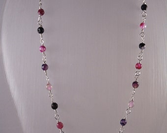 Gemstone necklace.   Fuschia/Purple agate rosary style necklace