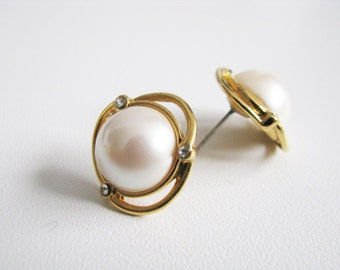 Monet Wrapped Band Pearl Pierced Earrings Gold Tone Vintage Round White Domed Bead