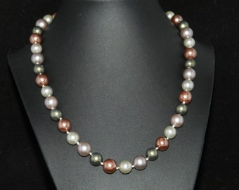 FT672 Warm Tone Pearl Necklace  18in