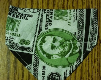 Over the Collar Money Bandana , Over the Collar Handmade Pet Handkerchief Bandana - Dollar Bills Design, X-Small Pet Bandana