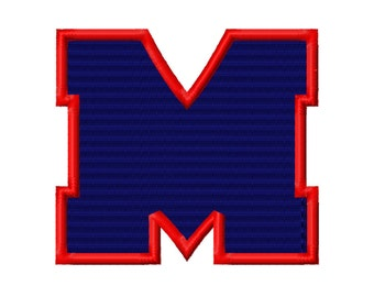 M Solid Fill Machine Embroidery Design Ole Miss Mississippi 3x3 4x4 5x5 INSTANT DOWNLOAD