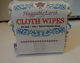 ORGANIC VELOUR WIPES Your Dozen -12- Wipes 8x8 inch size -Personalize it! Super Soft by HuggableEarth