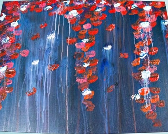 Hanging flowers: 18x24 canvas