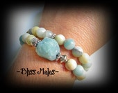 Two Gemstone Stretch Bracelets, Raw Amazonite, Amazonite Bracelet Set, Wrist Malas, Stretch Bracelet Gift Set, Calming, Soothing, Clarity