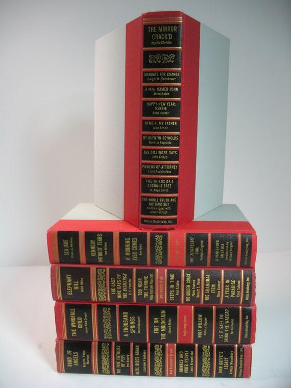 Vintage 5 books decorative display set red black grey - Decorative books for display ...