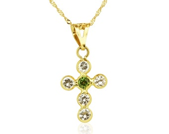 18K Yellow Solid Gold Emerald Cross Pendant, Cross Necklace, Spiritual Jewelry, Women Cubic Zirconia Pendant Necklaces