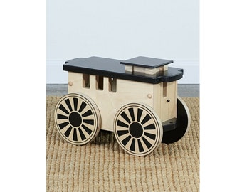 Kids Wooden Ride-On Train Caboose (4 Colors)