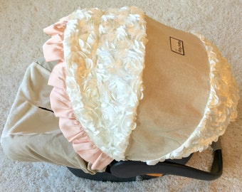 Linen Infant Car Seat Cover, Blush Car Seat Cover, Baby Car Seat Cover, Top Selling Baby Girl Car Seat Covers