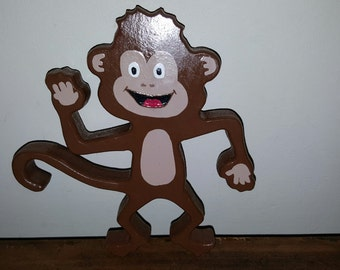 Hand Painted Wooden Monkey