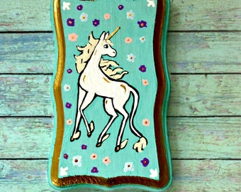 Unicorn hand painted wooden plaque. 2x4 inch
