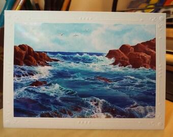 On the Rocks Greeting Card; Handmade Card; Art Print; Ocean; Sea; Nautical