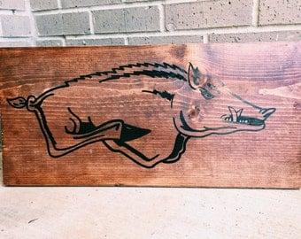 Wooden Arkansas Razorback Sign