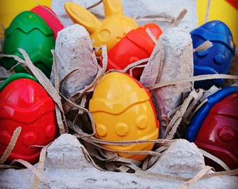 Handmade natural wax Easter egg crayons - 12 crayons in an egg carton