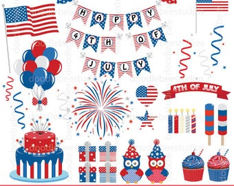 4th of July Clipart, 4th of July Clip Art, America Clipart, Independence Day Clip Art, U.S. Flag Clip Art, USA Clipart