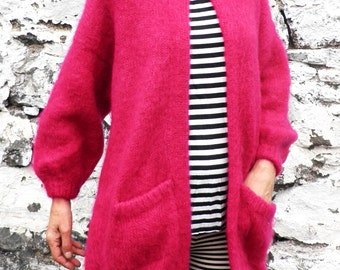 Vintage Deep Fuschia Pink Mohair Wool Cardigan Coat  Size L