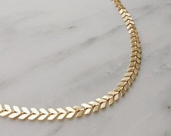 Gold Chevron Choker / Thick Gold Choker / Statement Choker / Choker Necklace / Boho Choker