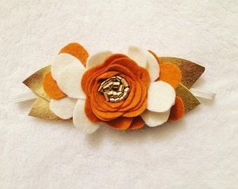 Pumpkin,Ivory, and Gold felt flower crown headband/baby/toddler/child headband/halloween headbands/thanksgiving/fall felt flowers