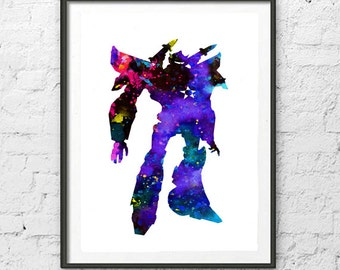 Transformer Art,Transformer Watercolor,Home Decor, Wall Decor,Transformer Watercolor Art Print, Kids Room decor