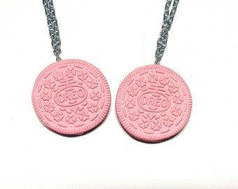 Giant pink oreo necklace/ Pink Oreo charm necklace/ Oreo necklace