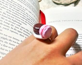 Polymer clay Macaron ring/ Polymer clay macaron ring/ Pink and chocolate macaron ring/ French Macarons