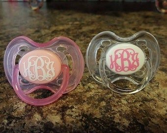 Set of 4 Monogrammed Paci decals, Personalized paci decal, Avent pacis, baby shower gift,