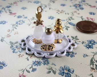 Miniature Perfume Bottles Perfume Vanity Tray Dollhouse Scale Dollhouse Decor Handmade 1:12 Supplies