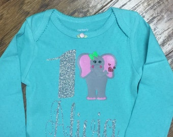 Elephant first birthday shirt