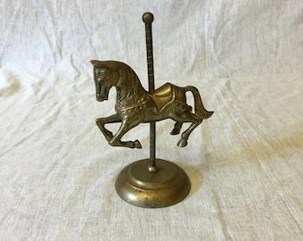 Vintage Brass Carousel Horse by Enesco, Brass Merry Go Round
