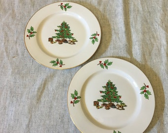 Vintage Meiwa Home For the Holidays Salad Plates, Set of 2, Christmas Tree Dishes