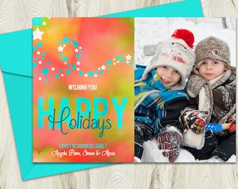 Watercolour Holiday Photo Card, Printable Personalized Christmas Greeting, 5x7, Digital File