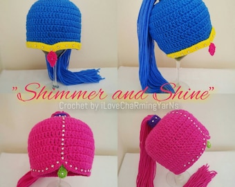 Shimmer and shine crochet wig hat, twin genies hat,character crochet hat,carpet ride genies,babies to adult genie costume,shimmer and shine
