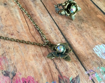 Brass Rose Necklace, RoseNecklace, Brass Necklace, Flower Necklace