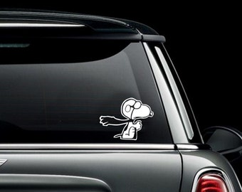 Snoopy Flying Custom Car Truck Van Window or Bumper Sticker Vinyl Decal