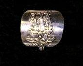 Solid silver antique Ship motif Spoon Ring