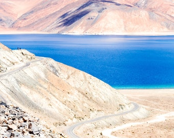 Instant Download Photography, Blue Lake Photo, Himalaya Picture, Landscape Wall Decor, India photography, Pangong Lake, Intense Color Decor