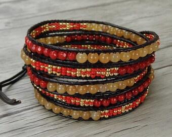 bead wrap bracelet red gold seed bead bracelet yoga gemstone bracelet boho wrap bracelet brown leather wrap bracelet gypsy bracelet SL-0288