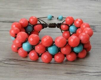 Braid bead bracelet adjustable bracelet coral turquoise bead bracelet Casual bracelet Boho bead bracelet bead cuff bracelet Jewelry SL-0349
