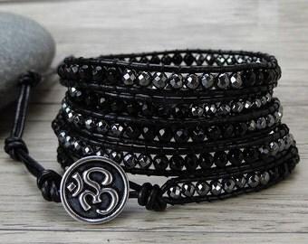 Black leather Wrap bracelet agate wrap bracelet Rutile Quartz bracelet boho bead wrap bracelet gemstone bracelet leather Jewelry SL-0418