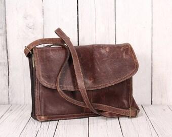 Vintage Boxca Bag/  Handbag/ Vintage Shoulder Bag/ Vintage, Brown Leather Handbag, Purse, Shoulder Bag/ Shoulder Strap Purse Bag Clutch