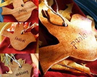 woodcut bird placecards