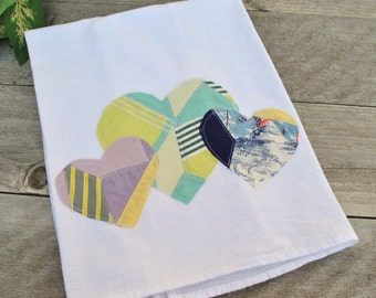 Flour Sack Dish Towel with Vintage Quilt Applique