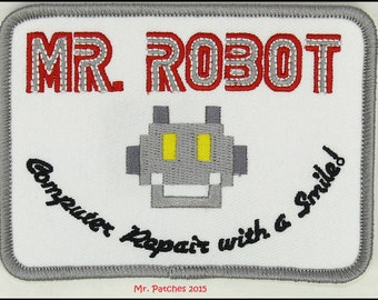 """MR ROBOT FSOCIETY White 4"""" X 3"""" tv show iron & sew on Patch - free shipping"""