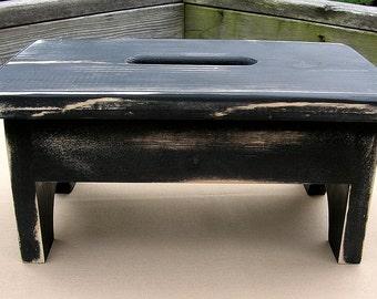 Wooden Stool Stepstool Bench - Black, Distressed, Bathroom, Kitchen