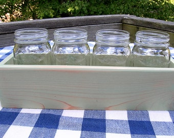 Centerpiece Box - Mason Jar Holder, 4-jar Size - Light Green - Organizer, Gift Box