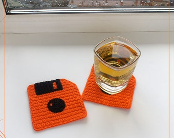 Crochet coasters Floppy Disk Orange, original coasters, computer floppy disc (set of 2 )