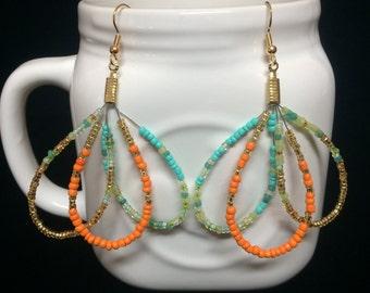 Triple Tear Drop Seed Bead Earrings