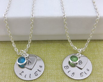 Big Sis Lil Sis Set of 2 Personalised Necklaces with Birthstone and Inialialed Heart Boxed Gift